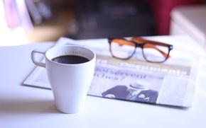 Обои очки, чашка, газета