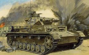 Картинка огонь, дым, рисунок, танк, автомобиль, Вторая мировая война, танкист, немецкий, средний, разрывы, Pz.Kpfw., (DAK), IV …