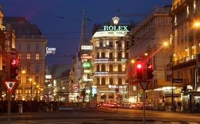 Картинка дорога, город, огни, Austria, светофор, ночь, здания, Vienna, Кернтнерштрассе, магазины, Австрия, Kärntner Straße, кафе, улица, ...