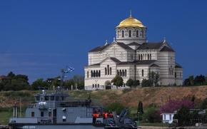 Картинка корабль, Храм, катамаран, спасатель, многоцелевой, Севастополь