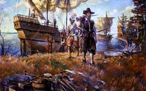 Картинка берег, масло, корабли, картина, холст, англичане, колонисты, .первые, устье, Джеймстауна, Чесапикского, залива