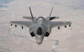 Обои полет, земля, Lightning II, F-35A