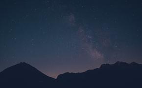Картинка космос, звезды, горы, силуэт, Млечный Путь