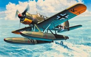 Картинка war, art, airplane, painting, aviation, ww2, Arado Ar 196