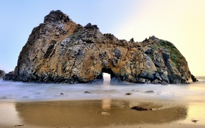 Картинка пляж, скала, океан, арка, California, USА, Big Sur, Pfeiffer Beach