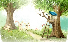 Картинка лес, рисунок, зайцы, домик