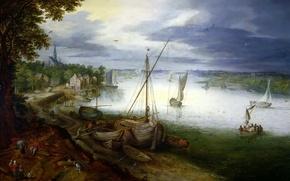 Картинка пейзаж, река, лодка, картина, Ян Брейгель младший, Вид на Шельду близ Антверпена