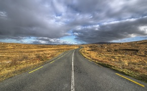 Картинка дорога, поле, облака, горизонт, серые облака