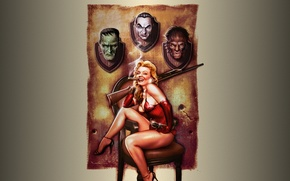 Картинка девушка, ружьё, хэллоуин, оборотень, дракула, трофеи, франкенштейн