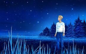 Картинка поле, лето, трава, звезды, ночь, синий, dream, summer, парень, field, blue, night, stars, fog, зенит, …