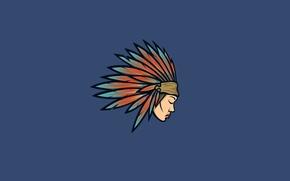Картинка девушка, минимализм, голова, перья, индеец, indian