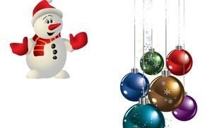 Картинка шарики, праздник, снеговик, снежинка
