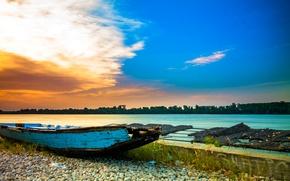 Обои камни, Сербия, лодка, небо, берег, река, облака