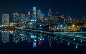Картинка вода, ночь, огни, отражение, река, дома, небоскребы, фонари, США, набережная, Philadelphia