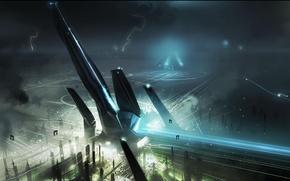 Картинка дорога, город, здания, корабли, неон, Tron