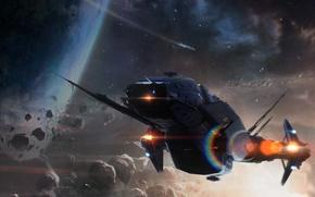 Картинка космос, планета, art, космический корабль, sci-fi, астероидный пояс