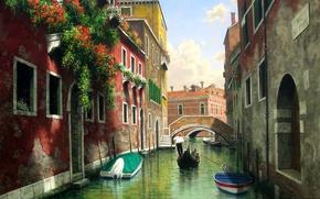 Картинка вода, цветы, мост, окна, дома, картина, лодки, Италия, Венеция, канал, гондола, балконы, Mark Pettit