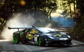 Обои Lamborghini Murciélago, speedhunters, скорость, дорога, Drift Machine, Liberty Walk, дым, пыль, занос