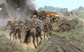 Картинка советские, арт, кавалеристы, дорога, солдаты, немецкие, горящая, дым, рисунок, военнопленные, машина, ВоВ, танк БТ-7, огонь