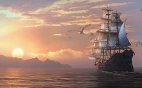 Картинка драконы, корабль, арт, драконы вечности, парусник, море, Dragon Eternity, закат