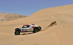 Картинка Песок, Авто, Спорт, Пустыня, Машина, Гонка, День, Rally, Dakar, Вид сбоку, Buggy, 316