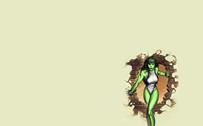 девушка, стена, кирпич, дыра, зеленая, жена халка, hulk, халк, marvel, комикс, минимализм, Женщина-Халк, She-Hulk, обои