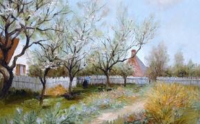 Картинка пейзаж, дом, картина, двор, Марсель Диф, Весенний сад