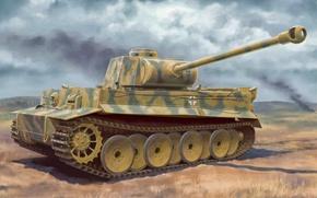 Картинка war, art, painting, tank, ww2, Tiger I Ausf.H2 7.5cm KwK 42