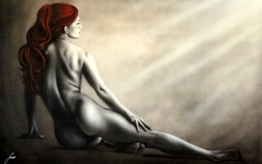 Картинка девушка, лицо, поза, фон, ноги, волосы, тело, спина, руки, изгибы, красные, профиль, живопись