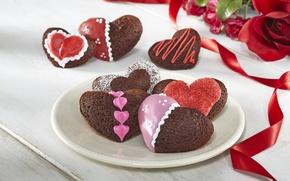 Картинка любовь, цветы, праздник, сердце, еда, розы, букет, печенье, love, пирожное, i love you, heart, food, …