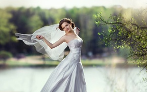 Картинка счастье, платье, брюнетка, красавица, невеста, фата