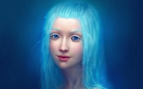 Обои девушка, крупный план, лицо, губы, голубые глаза, длинные волосы, синие волосы, голубой фон, realistic, простой ...