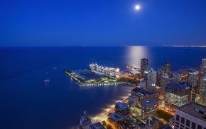 Картинка озеро, побережье, здания, Чикаго, Иллинойс, ночной город, Chicago, Illinois, небоскрёбы, озеро Мичиган, Lake Michigan, Streeterville, …