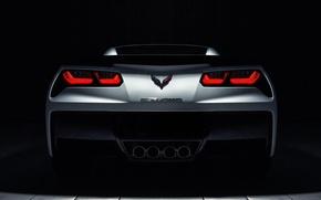 Картинка Corvette, Chevrolet, white, rear, roadster, Stingray