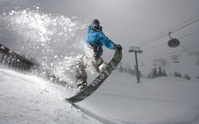 Обои ель прыжок, dune, трюк, the art of fligth, сноуборд, горы, сноубординг, снег, фильм, лес, случай