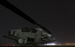 Картинка небо, звёзды, вертолёт, helicopter, AH-1W Cobra