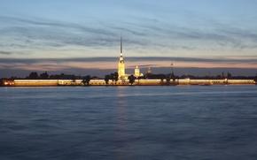 Обои город, река, обои, Вечер, Питер, Санкт-Петербург, wallpaper, Петропавловская крепость, Россия, столица, нева, северная, Вид с ...