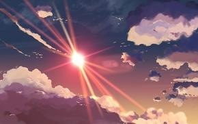 Обои рисунок, лучи, небеса, солнце, небо, облака