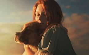 Картинка девушка, собака, солнечный свет