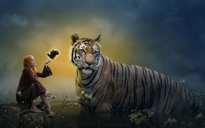 Картинка тигр, фантазия, арт, Elf