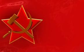 Обои красный, флаг, символ, СССР, серп и молот