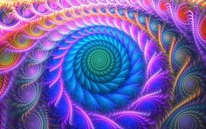 Обои линии, узор, краски, фрактал