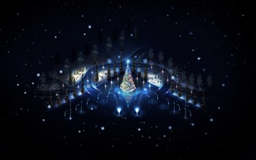Обои праздник, зима, игрушки, нарядная, огни, елка, новый год, ночь, снеговики