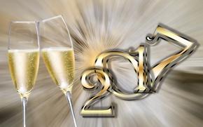 Обои Бокалы, 2017, Праздник, Шампанское, Новый Год