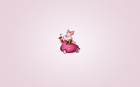 Обои минимализм, свинья, животное, пятачок, Winnie-the-Pooh, напиток, Винни-Пух, гамбургер, лимонад, пухлый