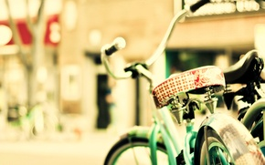 Картинка солнце, велосипед, город, улица