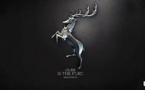 Обои Игра престолов, сериал, герб, A Song of Ice and Fire, корона, книга, олень, Ours is ...