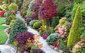Картинка цветы, дизайн, газон, сад, дорожка, скамейки, кусты, лавочки, столики