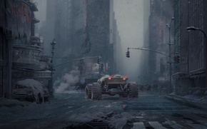 Картинка машина, Город, солдаты, руины