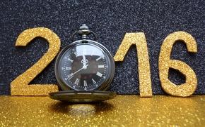Картинка часы, Новый Год, цифры, golden, New Year, Happy, glitter, 2016